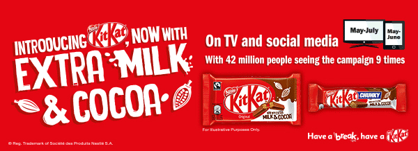 Introducing KitKat now with extra milk & cocoa
