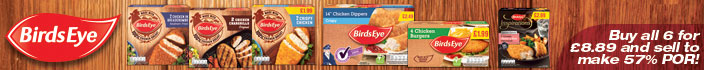 Birds Eye - Buy all 6 for £8.89 and sell to make 57% POR!