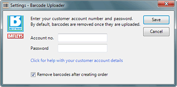 Barcode Uploader account settings
